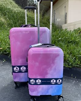 Pacific Coast 2-Piece Polycarbonate Pink Cloud Hardside Large and Carry On Luggage Set